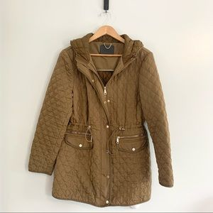 Zara Woman Long Quilted Jacket Brown Size XL